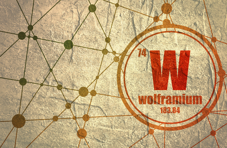 Wolframium chemical element. Sign with atomic number and atomic weight. Chemical element of periodic table. Molecule And Communication Background. Connected lines with dots. Distress grunge texture