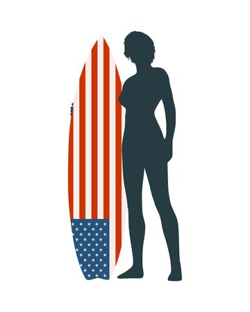 Woman posing with surfboard. Human silhouette. Vintage surfing graphic and emblem for web design or print. USA flag.