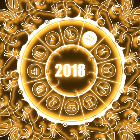 augury: Astrological symbols in the circle. Water bearer sign. Celebration card template. Neon shine illumination. Zodiac circle with 2018 new year number. 3D rendering Stock Photo
