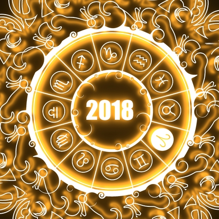 augury: Astrological symbols in the circle. Aries sign. Celebration card template. Neon shine illumination. Zodiac circle with 2018 new year number. 3D rendering