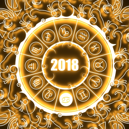 augury: Astrological symbols in the circle. Crab sign. Celebration card template. Neon shine illumination. Zodiac circle with 2018 new year number. 3D rendering