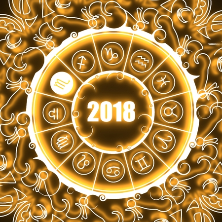 Astrological symbols in the circle. Scorpion sign. Celebration card template. Neon shine illumination. Zodiac circle with 2018 new year number. 3D rendering Stock Photo