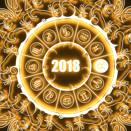 augury: Astrological symbols in the circle. Bull sign. Celebration card template. Neon shine illumination. Zodiac circle with 2018 new year number. 3D rendering Stock Photo