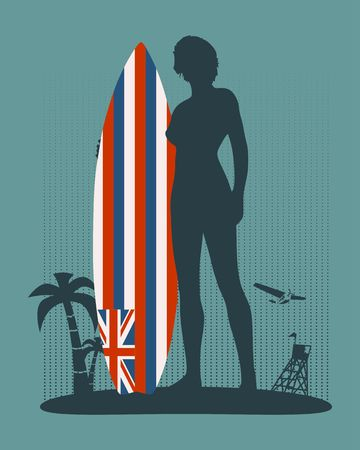 Woman posing with surfboard. Human silhouette. Vintage surfing graphic and emblem for web design or print. Hawaii state flag. Palm, airplane and lifeguard tower on backdrop