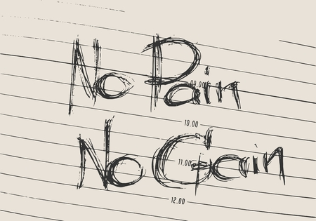 No pain no gain text. Gym and fitness motivation quote. Creative typography poster concept. Grunge style