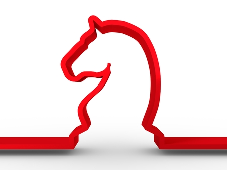 tactics: Horse Chess. Thin Line Icon. 3D rendering