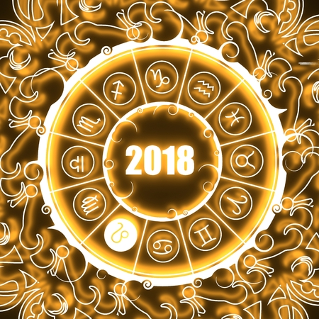 augury: Astrological symbols in the circle. Lion sign. Celebration card template. Neon shine illumination. Zodiac circle with 2018 new year number. 3D rendering Stock Photo