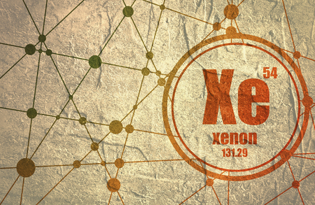Xenon chemical element. Sign with atomic number and atomic weight. Chemical element of periodic table. Molecule And Communication Background. Connected lines with dots. Distress grunge texture