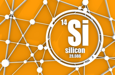 Silicon chemical element. Sign with atomic number and atomic weight. Chemical element of periodic table. Molecule And Communication Background. Connected lines with dots. 3D rendering