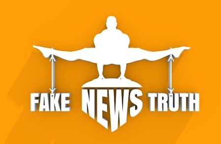 equal opportunity: Balance between Fake and Truth. Silhouette of a man tied with the words. Fake news banner background. 3D rendering Stock Photo