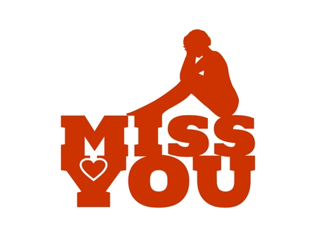 Miss you text with heart icon and sitting on them woman silhouette. Background relative to valentines day. Design element for greeting card or sticker