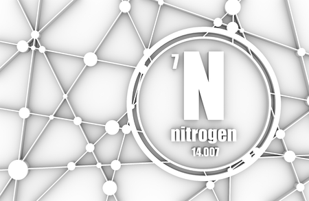 Nitrogen chemical element. Sign with atomic number and atomic weight. Chemical element of periodic table. Molecule And Communication Background. Connected lines with dots. 3D rendering
