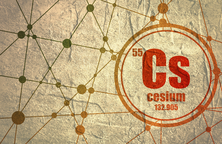 Cesium chemical element. Sign with atomic number and atomic weight. Chemical element of periodic table. Molecule And Communication Background. Connected lines with dots. Distress grunge texture