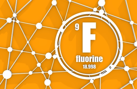 Fluorine chemical element. Sign with atomic number and atomic weight. Chemical element of periodic table. Molecule And Communication Background. Connected lines with dots. 3D rendering