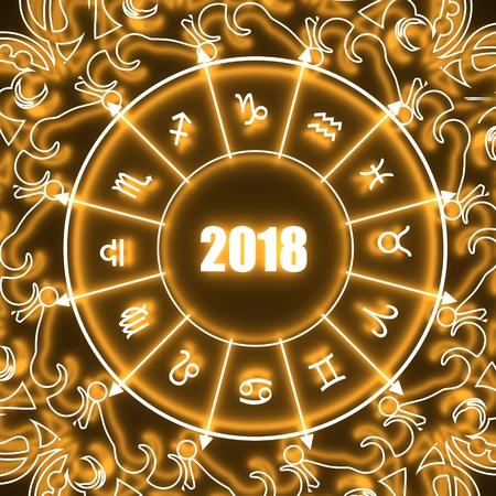Astrological signs in the circle. Celebration card template. Neon shine illumination. Zodiac circle with 2018 new year number. 3D rendering