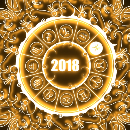 augury: Astrological symbols in the circle. Pisces sign. Celebration card template. Neon shine illumination Zodiac circle with 2018 new year number. 3D rendering Stock Photo