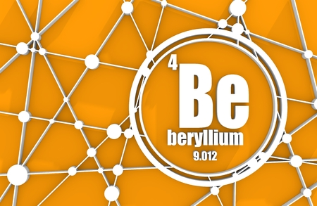 Beryllium chemical element. Sign with atomic number and atomic weight. Chemical element of periodic table. Molecule And Communication Background. Connected lines with dots. 3D rendering Stock Photo