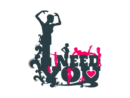 I need you text with heart icon and women silhouettes. Background relative to valentines day. Design element for greeting card or sticker