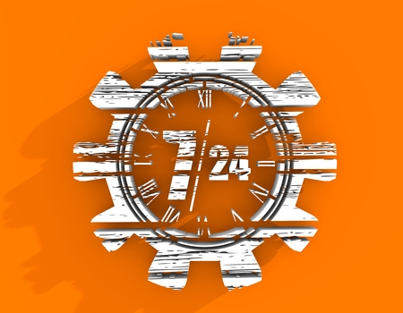 Time operation mode in gear. For customer support and retail. Seven days twenty four hour. Distress grunge texture. 3D rendering Stock Photo