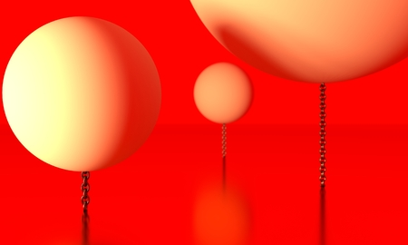 Large spheres levitation in empty space and chained to ground. 3D rendering
