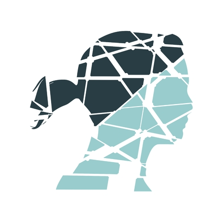 Profile of the head of a woman. Scientific medical design. Molecule and communication style design of the icon. Connected lines with dots. Broken silhouette Illustration