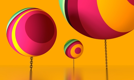 Large spheres levitation in empty space and chained to ground. Vibrant colors painting. 3D rendering