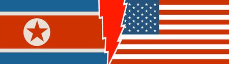 Image relative to politic situation between USA and North Korea. National flags divided by lighting