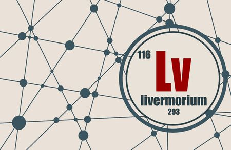 Livermorium chemical element. Sign with atomic number and atomic weight. Chemical element of periodic table. Molecule And Communication Background. Connected lines with dots.