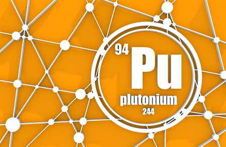 Plutonium chemical element. Sign with atomic number and atomic weight. Chemical element of periodic table. Molecule And Communication Background. Connected lines with dots. 3D rendering Stock Photo