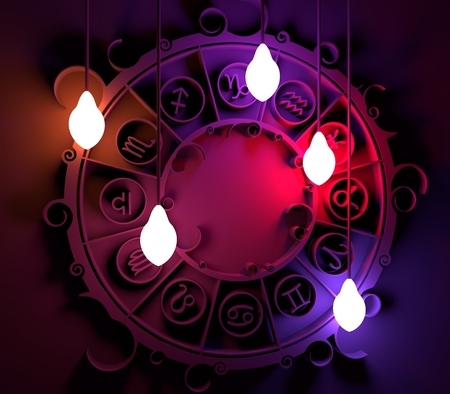 augury: Astrological signs in the circle. Celebration card template. Electric bulbs illumination. Zodiac circle. 3D rendering