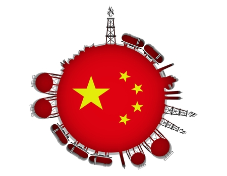 Circle with energy relative silhouettes. Natural gas industry concept. Objects located around the manometer circle. 3D rendering. Flag of the China Stock Photo