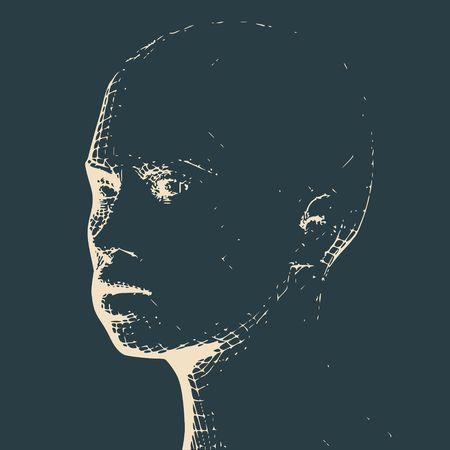 Kopf der Person aus einem 3D-Grid. Drahtmodell des menschlichen Kopfes. 3D geometrisches Gesichtsdesign. Polygonale Abdeckhaut. Standard-Bild - 88845164