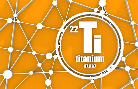 Titanium chemical element. Sign with atomic number and atomic weight. Chemical element of periodic table. Molecule And Communication Background. Connected lines with dots. 3D rendering Stock Photo