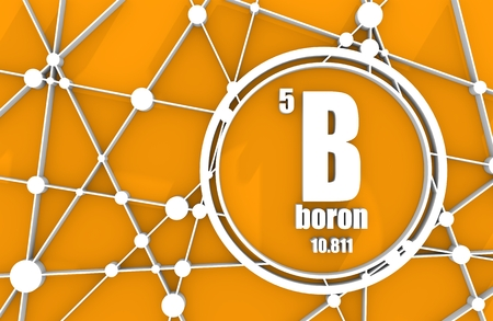 Boron chemical element. Sign with atomic number and atomic weight. Chemical element of periodic table. Molecule And Communication Background. Connected lines with dots. 3D rendering