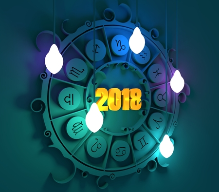 augury: Astrological signs in the circle. Celebration card template. Electric bulbs illumination. Zodiac circle with 2018 new year number. 3D rendering Stock Photo