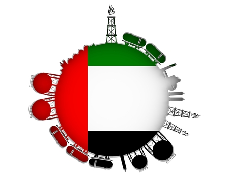 Circle with energy relative silhouettes. Natural gas industry concept. Objects located around the manometer circle. 3D rendering. Flag of the Unitad Arab Emirates