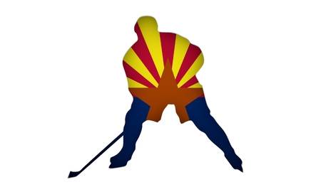 Professional hockey player cutout silhouette. Flag of the Arizona on backdrop. 3D rendering Stock Photo