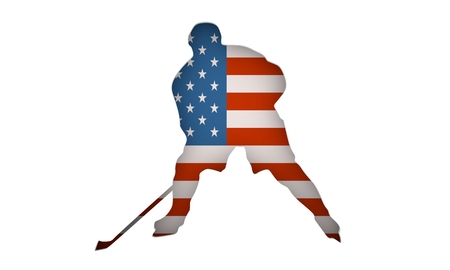Professional hockey player cutout silhouette. Flag of the USA on backdrop. 3D rendering