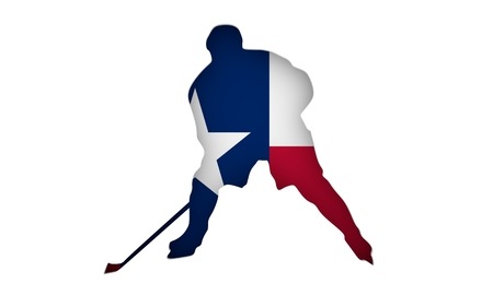 Professional hockey player cutout silhouette. Flag of the Texas on backdrop. 3D rendering