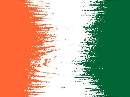 Concept de design de drapeau Côte d'Ivoire. Drapeau texturé par le motif de bois grungy. Image relative aux voyages et aux thèmes politiques. Banque d'images - 88970586