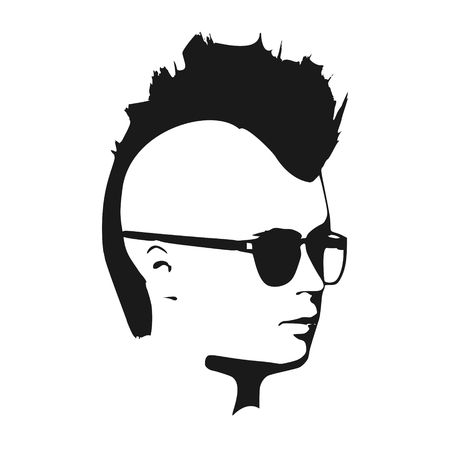 Man avatar half turn view. Male face silhouette or icon. Portrait with sunglasses. Mohawk hairstyle.