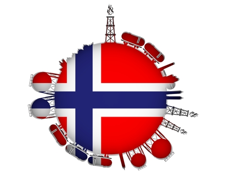 Circle with energy relative silhouettes. Natural gas industry concept. Objects located around the manometer circle. 3D rendering. Flag of the Norway Stock Photo