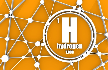 Wasserstoffchemisches Element. Zeichen mit Ordnungszahl und Atomgewicht. Chemisches Element des Periodensystems. Molekül und Kommunikation Hintergrund. Verbundene Linien mit Punkten. 3D-Rendering