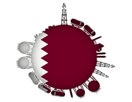 Circle with energy relative silhouettes. Natural gas industry concept. Objects located around the manometer circle. 3D rendering. Flag of the Qatar Stock Photo