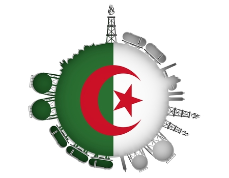 natural gas production: Circle with energy relative silhouettes. Natural gas industry concept. Objects located around the manometer circle. 3D rendering. Flag of the Algeria