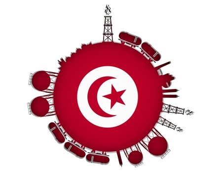 Circle with energy relative silhouettes. Natural gas industry concept. Objects located around the manometer circle. 3D rendering. Flag of the Tunisia Stock Photo