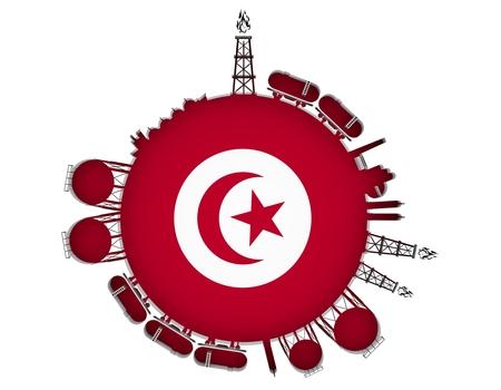 Cirkel met energie-relatieve silhouetten. Aardgasindustrie concept. Voorwerpen rond de cirkel van de manometer. 3D-rendering. Vlag van Tunesië