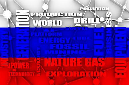Nature gas relative tags cloud. Image relative to gas production and supply. Connected lines with dots. Flag of the Russia on backdrop. 3D rendering Stock Photo