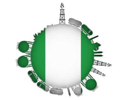 Circle with energy relative silhouettes. Natural gas industry concept. Objects located around the manometer circle. 3D rendering. Flag of the Nigeria