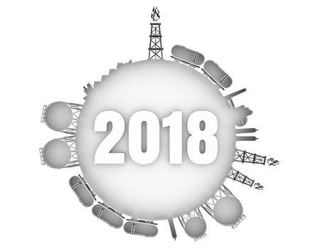Circle with energy relative silhouettes. Natural gas industry concept. Objects located around the manometer circle. 3D rendering. 2018 year number